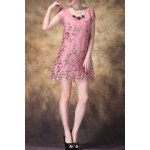 Scoop Neck Sequined Embroidered Dress for sale