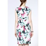 cheap Straight Fitting Floral Print Dress