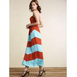 cheap Strapless Striped Color Block Maxi Dress