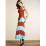 Strapless Striped Color Block Maxi Dress deal