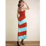 Strapless Striped Color Block Maxi Dress for sale