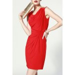 cheap Straight Twist Solid Color Dress