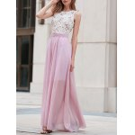 Stylish Round Neck Lace Splice Pink Women's Prom Dress for sale