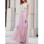 Stylish Round Neck Lace Splice Pink Women's Prom Dress deal