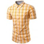 Turn-Down Collar Checked Design Short Sleeve Shirt For Men
