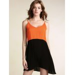 cheap Stylish Cami Sleeveless Color Block Backless Women's Dress