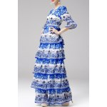 Printed Tiered Maxi Dress for sale