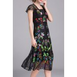 Embroidered Voile A Line Dress with Tank Top deal