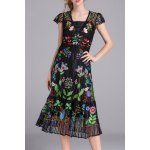 Embroidered Voile A Line Dress with Tank Top