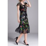 Embroidered Voile A Line Dress with Tank Top photo
