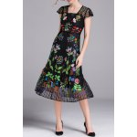 best Embroidered Voile A Line Dress with Tank Top