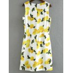 cheap Stylish Round Neck Sleeveless Lemon Print Women's Dress