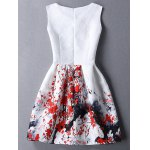 cheap Ladylike Round Neck Sleeveless Plum Blossom Print Women's Dress
