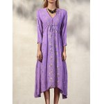 cheap Fashion V-Neck 3/4 Sleeve High Waisted Embroidery Dress For Women