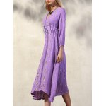 Fashion V-Neck 3/4 Sleeve High Waisted Embroidery Dress For Women for sale
