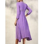 best Fashion V-Neck 3/4 Sleeve High Waisted Embroidery Dress For Women
