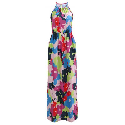 Round Collar Sleeveless Floral Pattern Multicolor Women's Dress