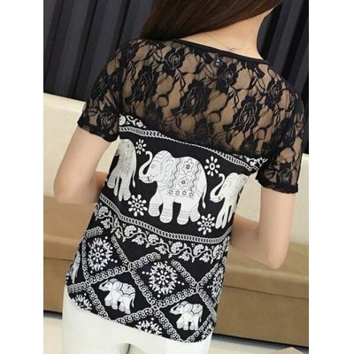 Фотография Trendy Jewel Neck Short Sleeve Lace Panelled Print Blouse For Women