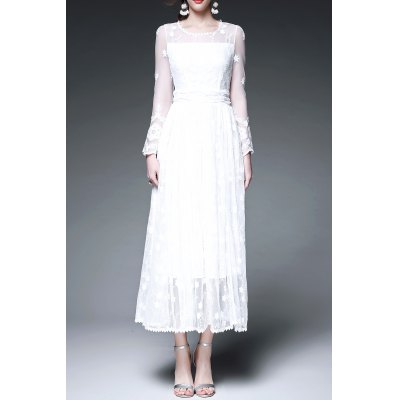 Voile Spliced Solid Color Long Sleeve Dress