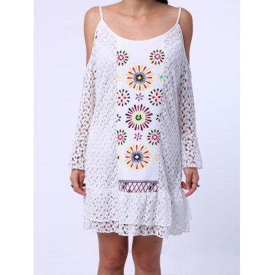 Sweet Spaghetti Strap Shoulder Cut Out Long Sleeve Lace Dress For Women