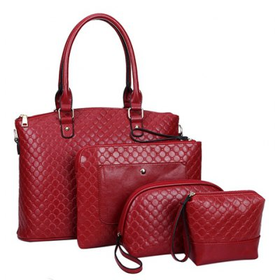 Stylish Solid Colour and Embossing Design Shoulder Bag For Women
