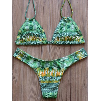Halter Floral Print Bikini Set For Women