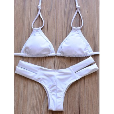 Elegant Halter Solid Color Hollow Out Bikini Set For Women