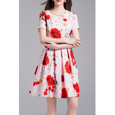Floral Print Daisy Applique Dress