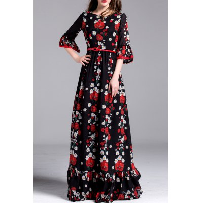 Floral Print Maxi Belted Dress
