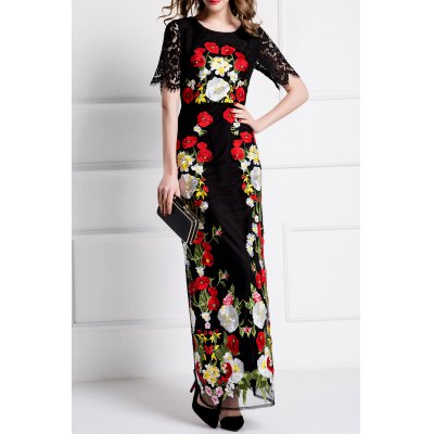 Flower Embroidered Bodycon Evening Dress