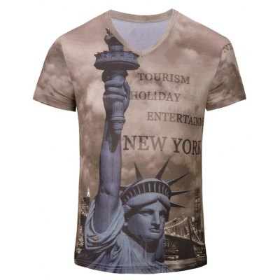 3D Statue of Liberty Printed Short Sleeves T-Shirt For Men