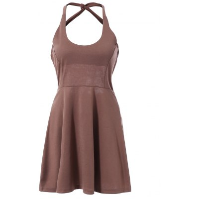 Sleeveless Hollow Out Solid Color Backless Women's Dress