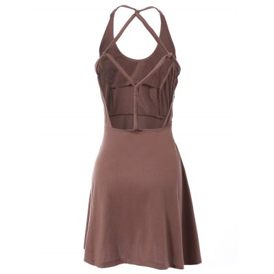 Fashionable Sleeveless Hollow Out Solid Color Backless Women's Dress