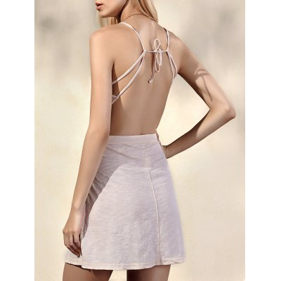 Spaghetti Straps Sleeveless Backless Solid Color Dress