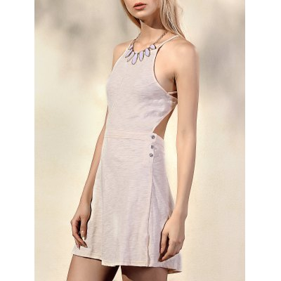 Trendy Spaghetti Straps Sleeveless Backless Solid Color Women's Dress