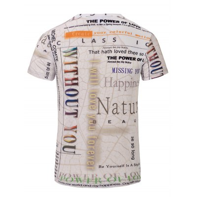Men's Casual Letters Printed Short Sleeves T-Shirt