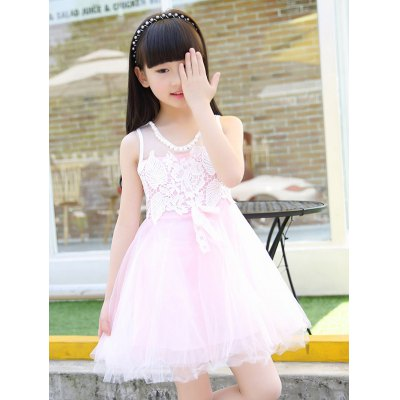 Scoop Neck Sleeveless Lace Spliced Girl's Ball Gown Dress