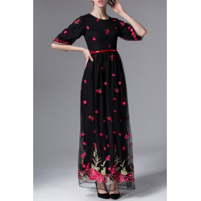 Floral Embroidered Maxi Half Sleeve Dress