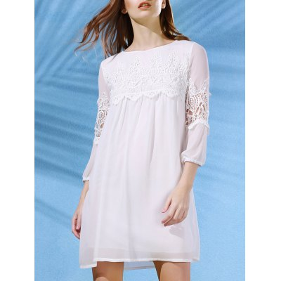 Scoop Neck 3/4 Sleeve Lace Splice White Dress