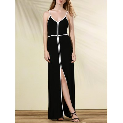 Contrasting Piped Long Prom Dress