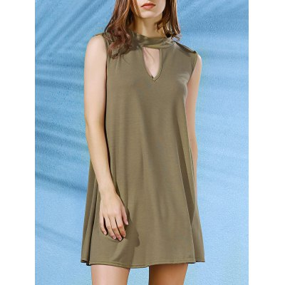 Mock Neck Solid Color Swing Dress