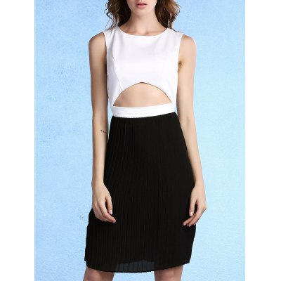 Round Neck Sleeveless Pleated Color Block Dress