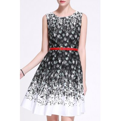 With Belt Feather Print Dress