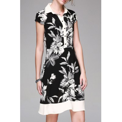 Single-Breasted Flower Print Dress