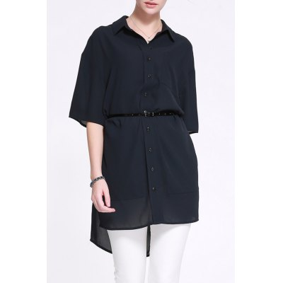 Fitting Solid Color Shirt Dress