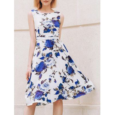 Round Collar Sleeveless Floral Print Slimming Women's Dress