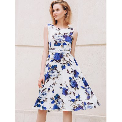 Chic Round Collar Sleeveless Floral Print Slimming Women's Dress