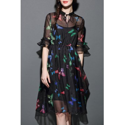 See-Through Butterfly Print Dress with Tank Top