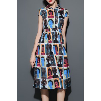 Figure Print Shirt Midi Dress
