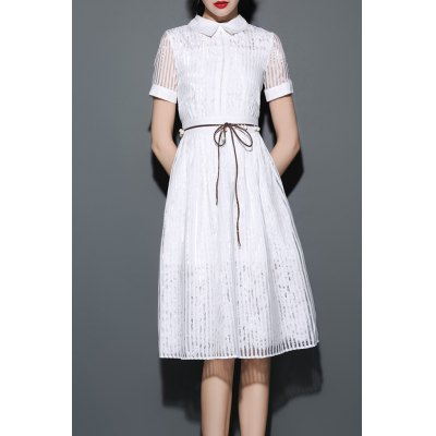 Stripe Flat Collar Shirt Dress